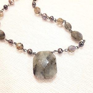 Lia Sophia Pearls Labradorite Crystals Necklace